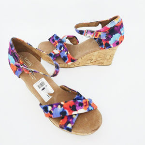 Toms Womens Floral Multicolor Wedge Heels Size 10